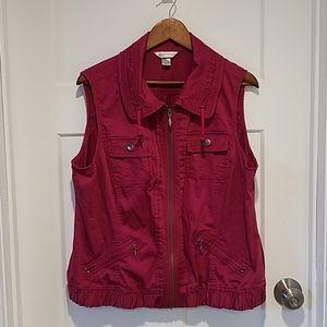 Christopher & Banks Maroon Zipper Vest size XL